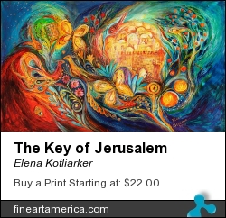 The Key Of Jerusalem by Elena Kotliarker - Painting - Acrylic On Textured Canvas