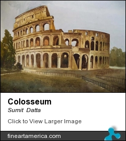 Colosseum by Sumit  Datta - Painting - Watercolor
