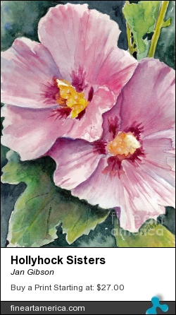 Hollyhock Sisters by Jan Gibson - Painting - Watercolor