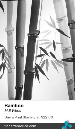 Bamboo by M E Wood - Painting - Ink