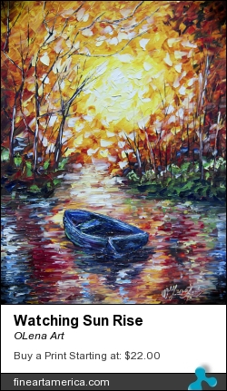 Watching Sun Rise by OLena Art - Painting - Palette Knife Oil Painting