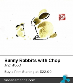Bunny Rabbits With Chop by M E Wood - Painting - Ink