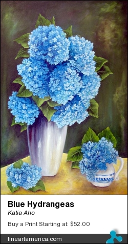 Blue Hydrangeas by Katia Aho - Painting - Oil On Canvas