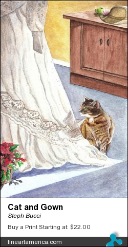 Cat And Gown by Steph Bucci - Painting - Watercolor