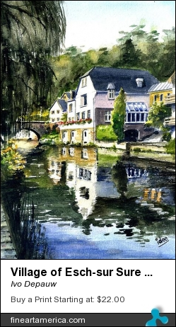 Village Of Esch-sur Sure In Luxemburg by Ivo Depauw - Painting - Aquarel
