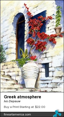 Greek Atmosphere by Ivo Depauw - Painting - Watercolor