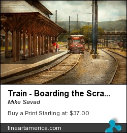 Train - Boarding The Scranton Trolley by Mike Savad - Photograph - Hdr Photography