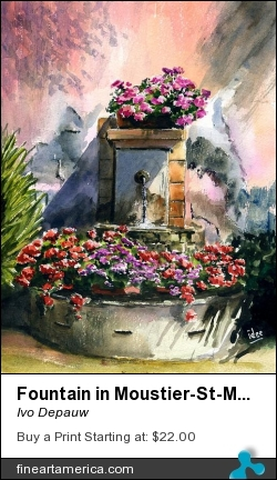 Fountain In Moustier-st-marie by Ivo Depauw - Painting - Aquarel