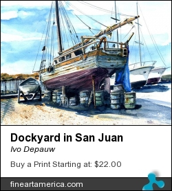Dockyard In San Juan by Ivo Depauw - Painting - Aquarel