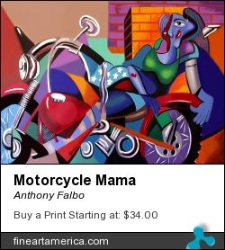 Motorcycle Mama by Anthony Falbo - Painting - Oils On Canvas