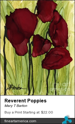 Reverent Poppies by Mary T Barton - Painting - Alcohol Ink