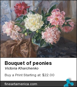Bouquet Of Peonies by Victoria Kharchenko - Painting - Oil On Canvas