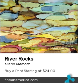 River Rocks by Diane Marcotte - Painting - Alcohol Ink On Yupo