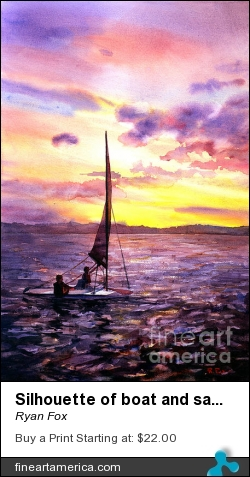 Silhouette Of Boat And Sailors On Torch Lake Michigan Usa by Ryan Fox - Painting - Watercolor
