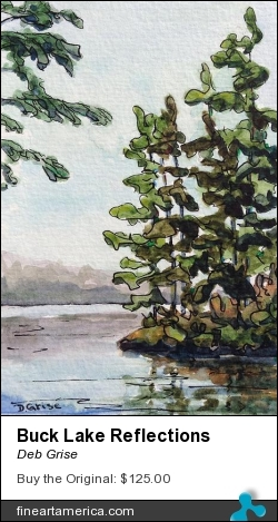 Buck Lake Reflections by Deb Grise - Painting - Watercolour & Ink