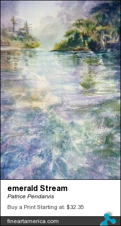 emerald Stream by Patrice Pendarvis - Painting - Watercolor Rice Paper Collage