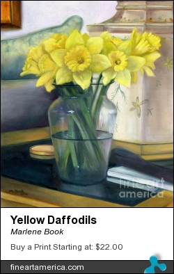 Yellow Daffodils by Marlene Book - Painting - Oil On Canvas