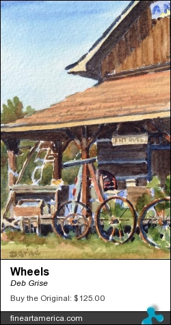 Wheels by Deb Grise - Painting - Watercolor
