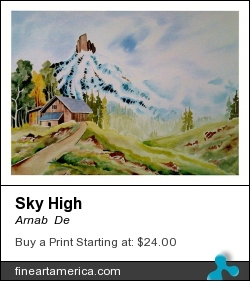 Sky High by Arnab  De - Painting - Watercolor On Paper