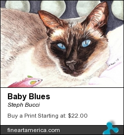 Baby Blues by Steph Bucci - Painting - Watercolor