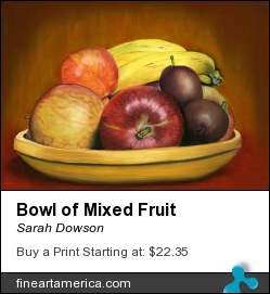 Bowl Of Mixed Fruit by Sarah Dowson - Painting - Pastel