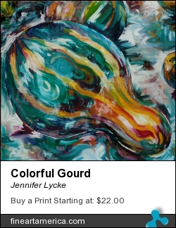 Colorful Gourd by Jennifer Lycke - Painting - Oil On Canvas