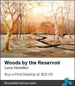 Woods By The Reservoir by Larry Hamilton - Painting - Watercolor