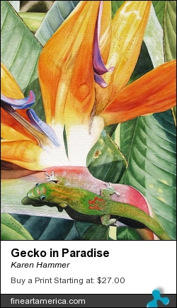 Gecko In Paradise by Karen Hammer - Painting - Watercolor
