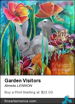 Garden Visitors by Almeta LENNON - Painting - Mixed Media On Canvas
