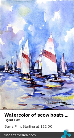 Watercolor Of Scow Boats Racing Torch Lake Mi by Ryan Fox - Painting - Watercolor