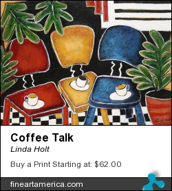 Coffee Talk by Linda Holt - Painting - Acrylic On Paper