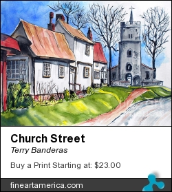 Church Street by Terry Banderas - Painting - Watercolor On Paper.