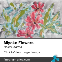Miyoko Flowers by BALJIT CHADHA - Painting - Mix Media On Paper