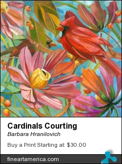 Cardinals Courting by Barbara Hranilovich - Painting - Gouache