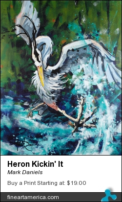 Heron Kickin' It by Mark Daniels - Painting - Acrylic On Canvas