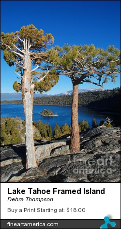 Lake Tahoe Framed Island by Debra Thompson - Photograph - Photography
