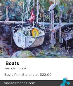 Boats by Jan Bennicoff - Painting
