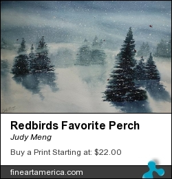 Redbirds Favorite Perch by Judy Meng - Painting - Watercolor