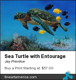 Sea Turtle With Entourage by Jay Prentice - Painting - Acrylic On Canvas