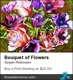 Bouquet Of Flowers by Susan Robinson - Painting - Pastels