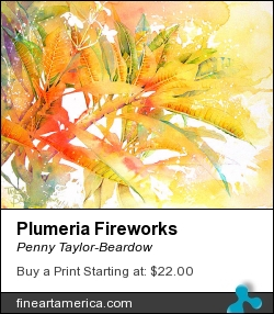 Plumeria Fireworks by Penny Taylor-Beardow - Painting - Watercolour