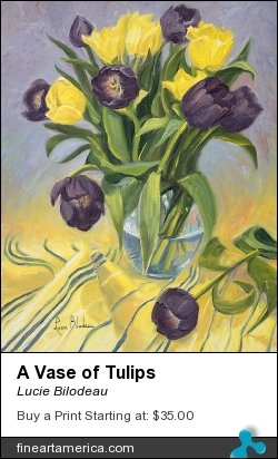 A Vase Of Tulips by Lucie Bilodeau - Painting - Oil On Canvas