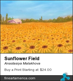 Sunflower Field by Anastasiya Malakhova - pastels on paper