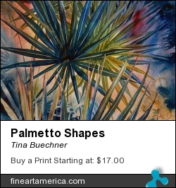 Palmetto Shapes by Tina Buechner - Painting - Transparent Watercolor