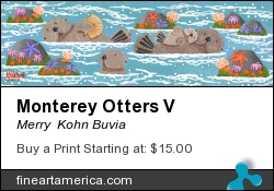 Monterey Otters V by Merry  Kohn Buvia - Painting - Acrylic On Canvas