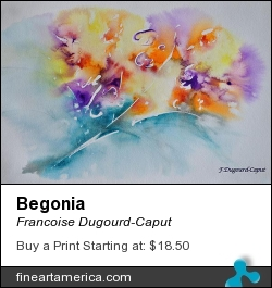 Begonia by Francoise Dugourd-Caput - Painting - Watercolor