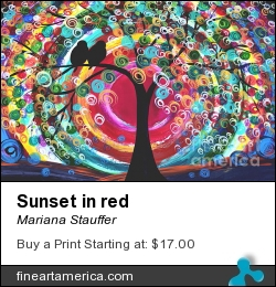 Sunset In Red by Mariana Stauffer - Painting - Original Painting
