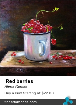 Red Berries by Alena Rumak - Painting - Oil On Canvas