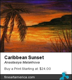 Caribbean Sunset by Anastasiya Malakhova - acrylic on linen canvas card