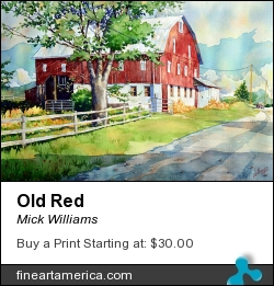 Old Red by Mick Williams - Painting - Watercolor